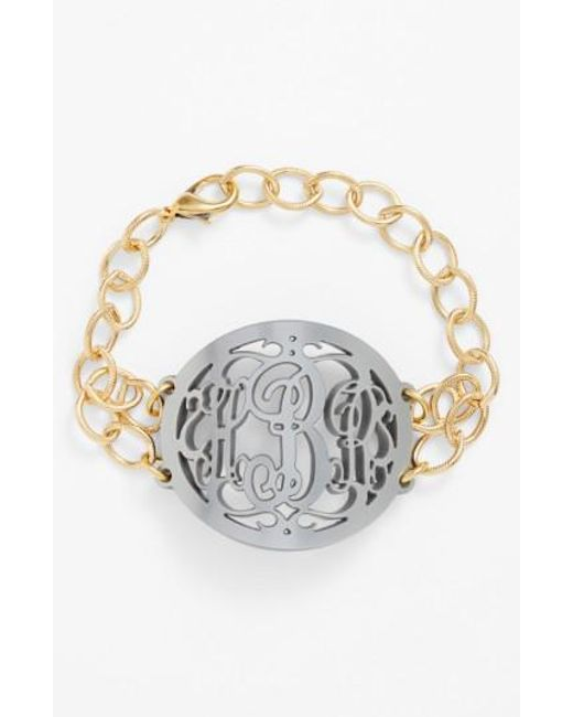 Moon & Lola | Metallic 'annabel' Large Oval Personalized Monogram Bracelet (nordstrom Exclusive) | Lyst