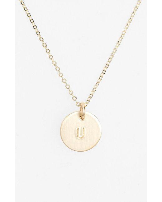 Nashelle - Metallic 14k-gold Fill Initial Mini Circle Necklace - Lyst