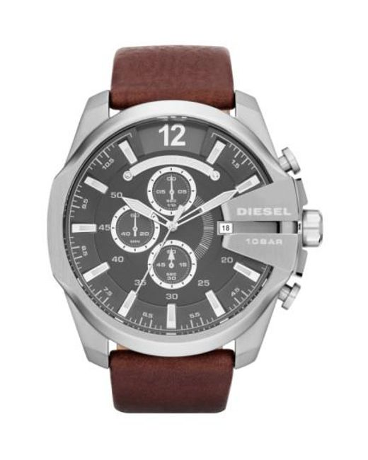 DIESEL | Brown Diesel 'mega Chief' Leather Strap Watch for Men | Lyst