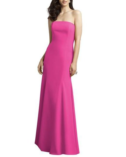 Dessy Collection   Pink Strapless Crepe Gown   Lyst