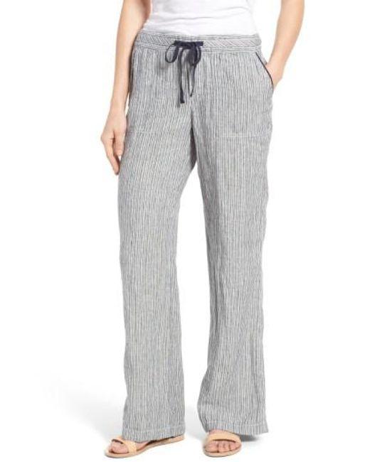 Caslon | Blue Caslon Drawstring Linen Pants | Lyst