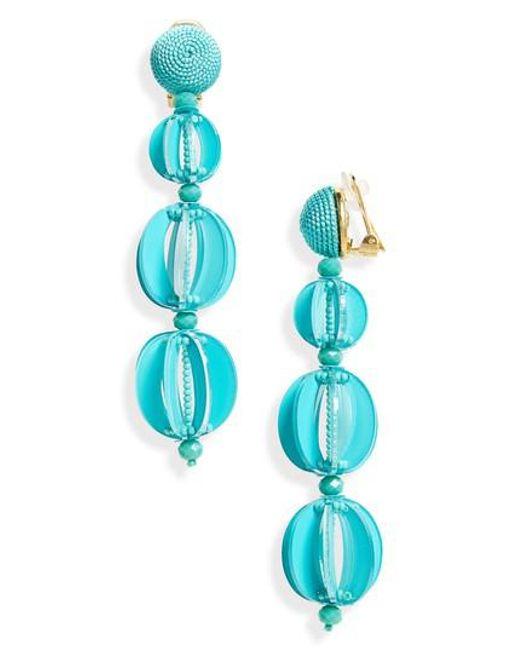 Oscar de la Renta - Blue Beaded Drop Earrings - Lyst