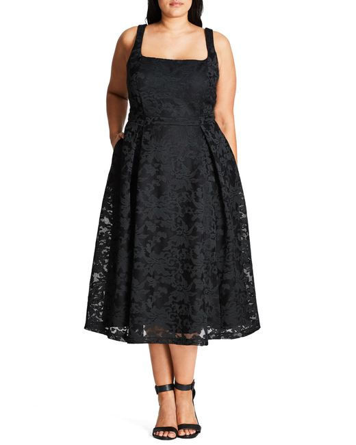 City Chic - Black Trendy Plus Size Fit & Flare Midi Dress - Lyst