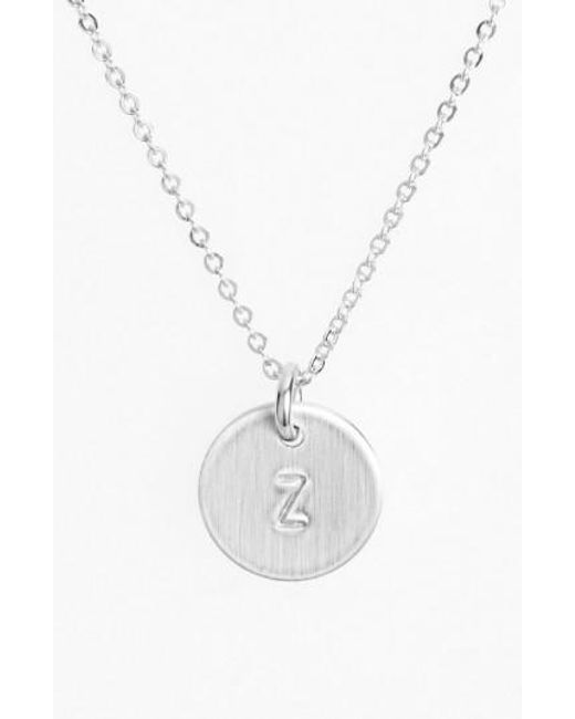 Nashelle - Metallic Sterling Silver Initial Mini Disc Necklace - Lyst