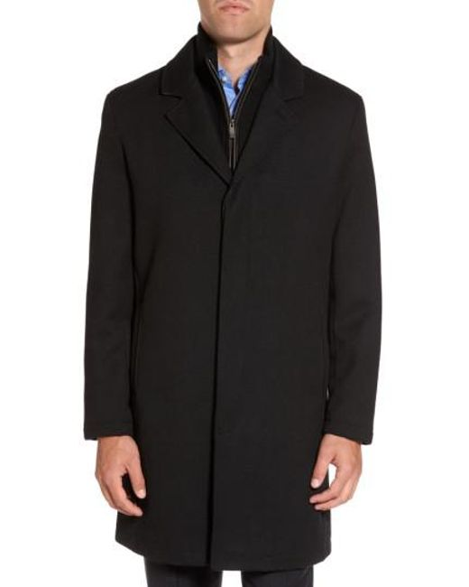 Cole Haan - Black Modern Twill Topcoat With Removable Bib for Men - Lyst