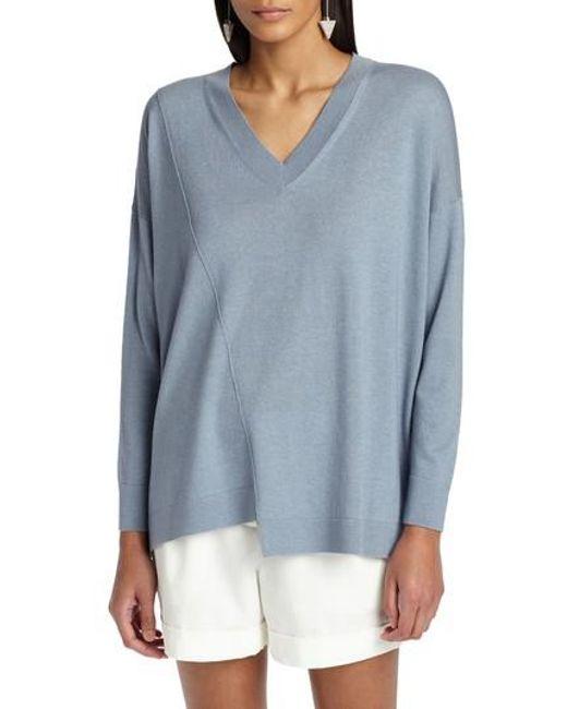 Lafayette 148 New York - Blue Asymmetrical Cashmere & Silk Blend Sweater - Lyst