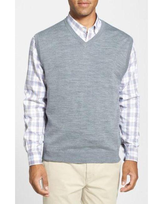 Cutter & Buck - Gray 'douglas' Merino Wool Blend V-neck Sweater Vest for Men - Lyst