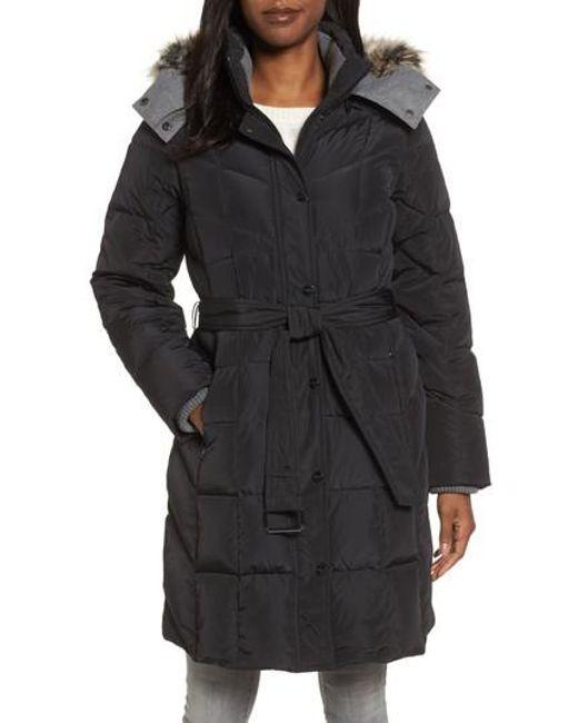 London Fog | Black Down Coat With Faux Fur Trim | Lyst