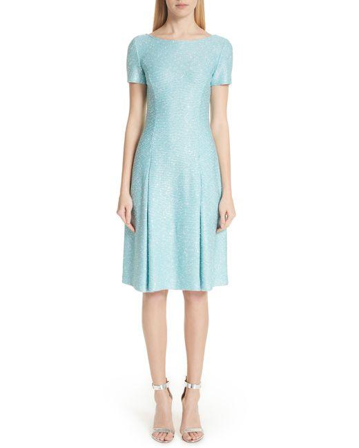 St. John - Blue Flecked Sparkle Knit Dress - Lyst