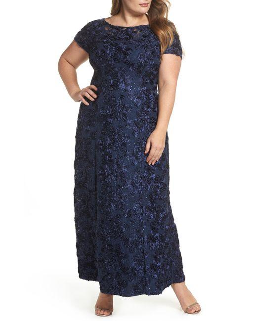 Alex Evenings - Blue Rosette Lace Short Sleeve A-line Gown - Lyst