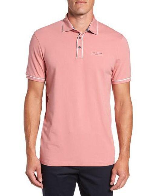 Ted Baker | Pink Offset Modern Slim Fit Polo for Men | Lyst