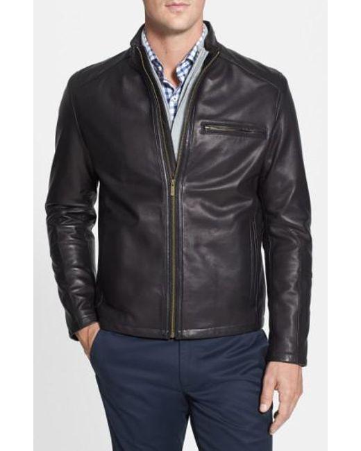 Cole Haan - Black Lambskin Leather Moto Jacket for Men - Lyst
