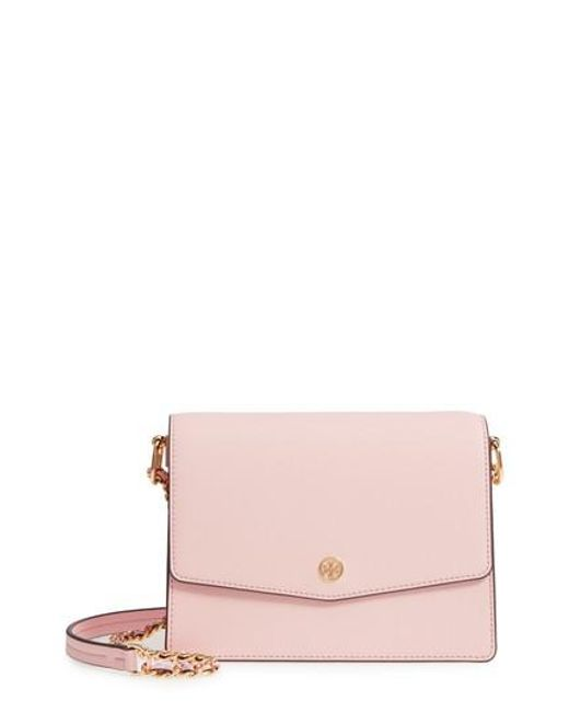 Tory Burch - Pink Robinson Convertible Leather Shoulder Bag - - Lyst