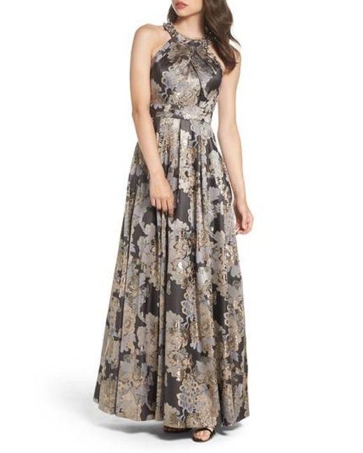 Eliza J | Embellished Metallic Jacquard Ballgown | Lyst