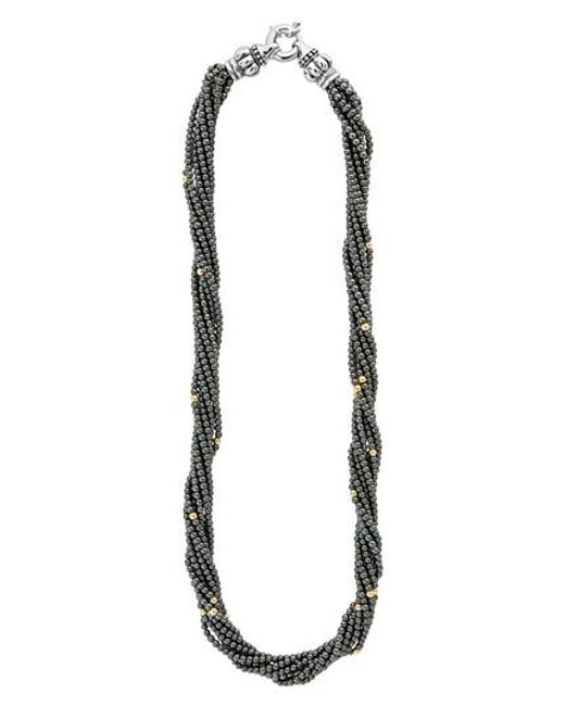 Lagos - Metallic Caviar Icon Hematite Necklace - Lyst