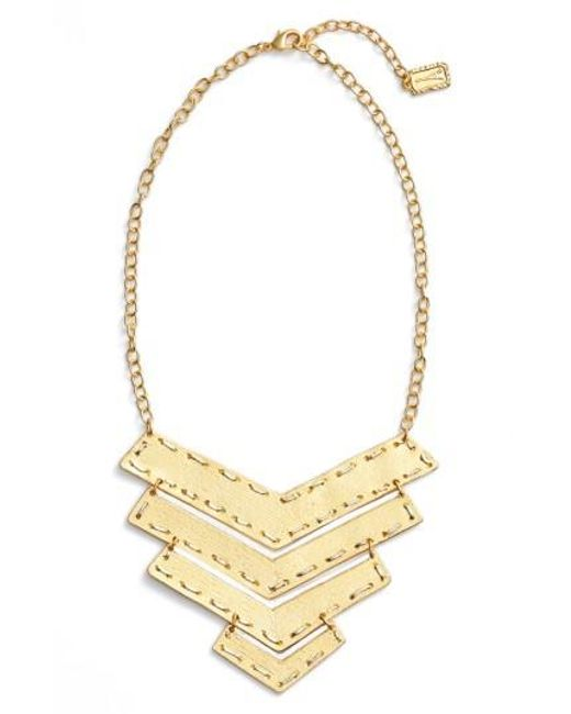 Karine Sultan - Metallic Chevron Pendant Necklace - Lyst