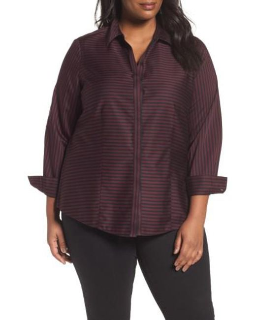 Foxcroft | Purple Casey Stripe Sateen Blouse | Lyst