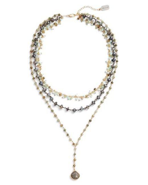 Ela Rae | Metallic Multistrand Y-necklace | Lyst