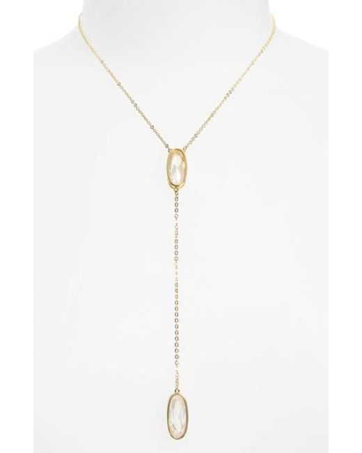 Melinda Maria | Metallic Mary Cubic Zirconia Y-necklace | Lyst