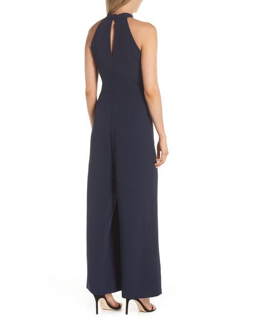 ab59faacd25443 ... Julia Jordan - Blue Halter Wide Leg Jumpsuit - Lyst