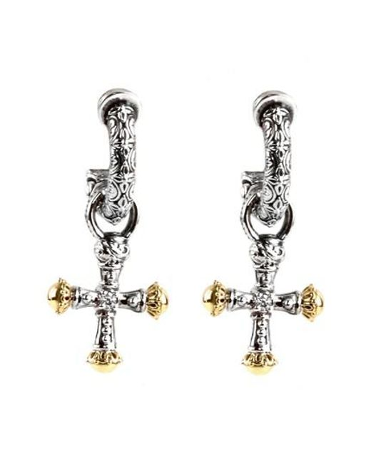 Konstantino - Metallic Cross Drop Earrings - Lyst