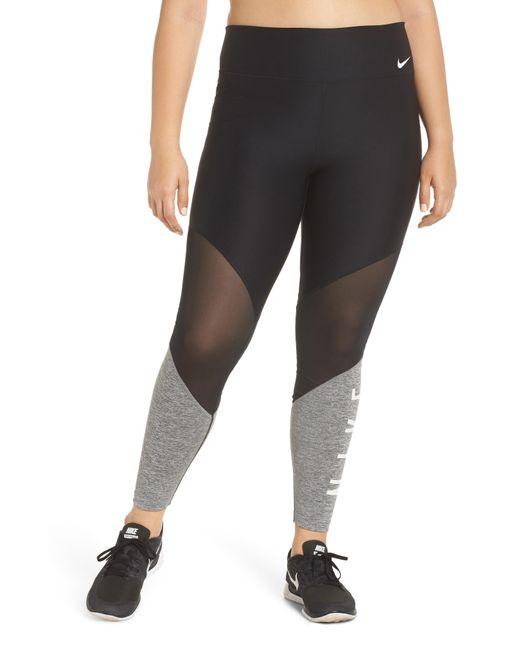 Nike - Black Power Mesh Training Leggings - Lyst