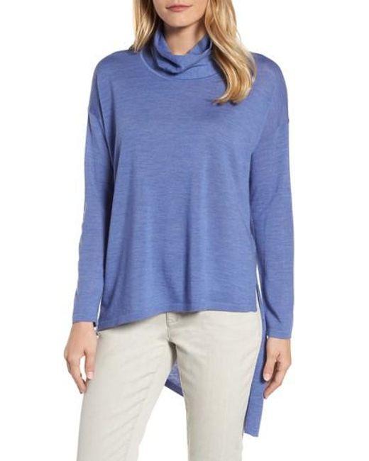Eileen Fisher | Blue Asymmetrical Merino Wool Sweater | Lyst
