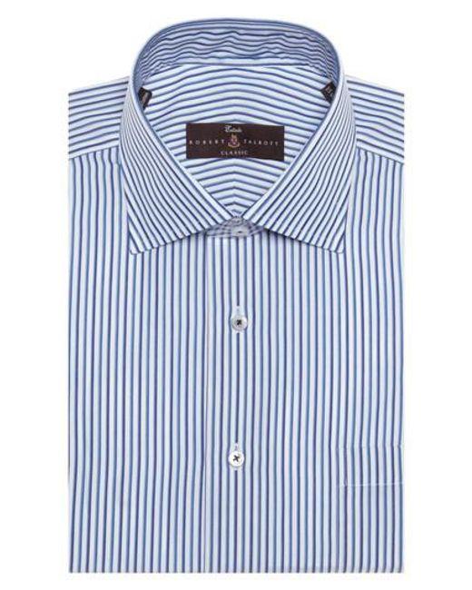 Lyst robert talbott tailored fit stripe dress shirt in for Tailoring a dress shirt