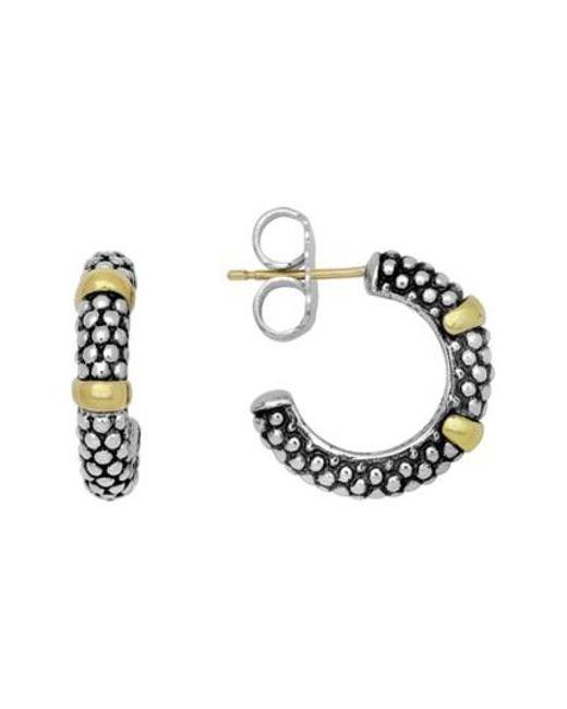 Lagos - Metallic Two Tone Caviar Hoop Earrings - Lyst