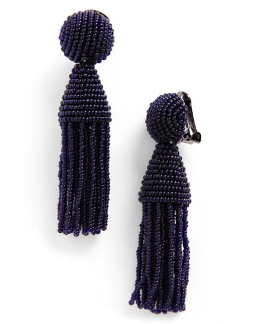 Oscar de la Renta | Multicolor 'classic Short' Tassel Drop Earrings | Lyst