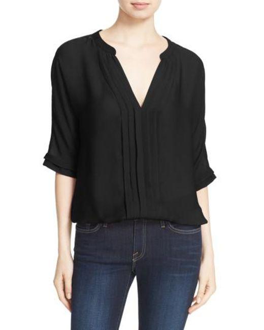 Joie | Black 'marru' Semi-sheer Silk Blouse | Lyst