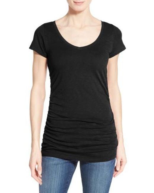 Caslon | Black Caslon Shirred V-neck Tee | Lyst
