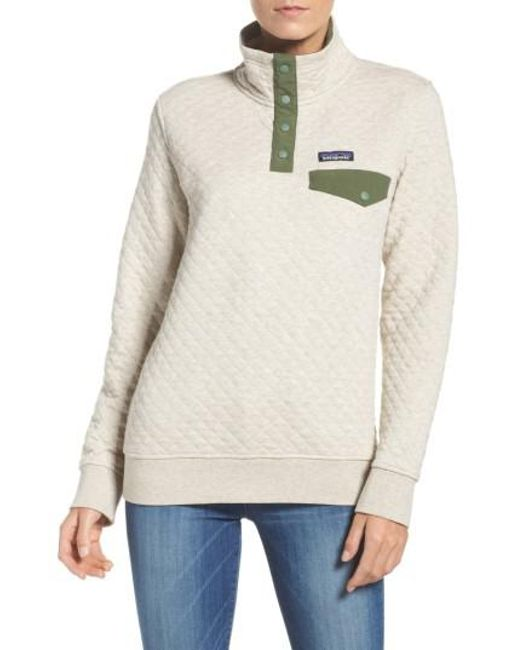 Patagonia Quilted Pullover Toasted White: Patagonia Quilted Pullover In White