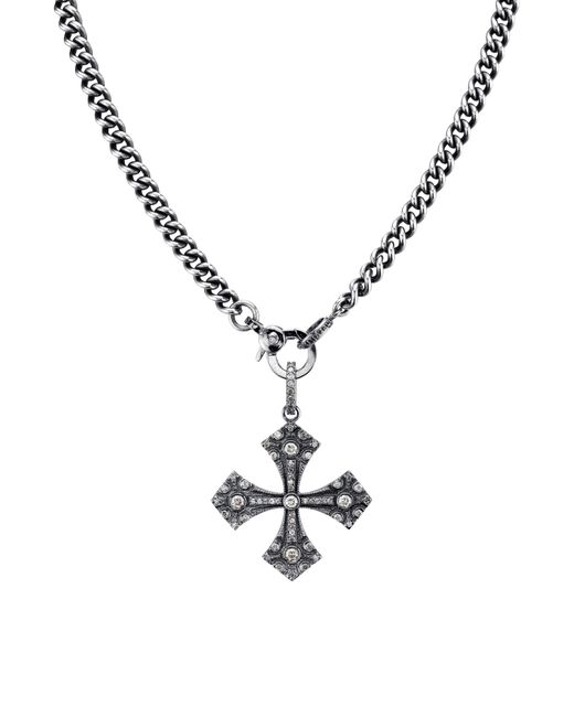 Sheryl Lowe - Metallic Gothic Cross Pendant Necklace With Diamonds - Lyst