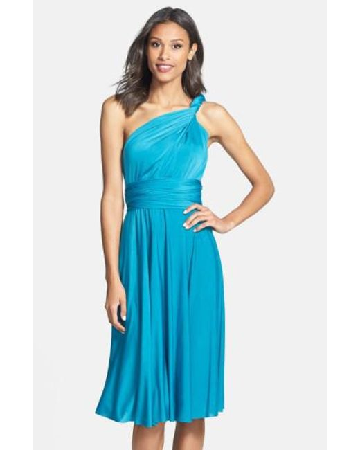 Dessy Collection   Blue Adjustable Jersey Gown   Lyst