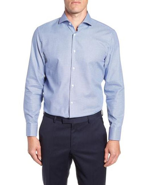 BOSS - Blue Sharp Fit Mark Micro Grid Dress Shirt for Men - Lyst