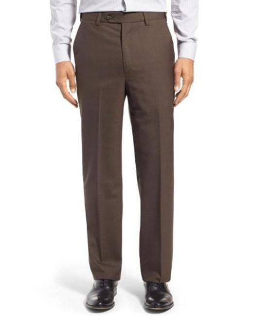 Berle - Black Self Sizer Waist Flat Front Wool Trousers for Men - Lyst