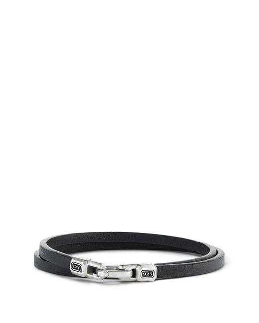 David Yurman - Black Streamline Double Wrap Leather Bracelet for Men - Lyst