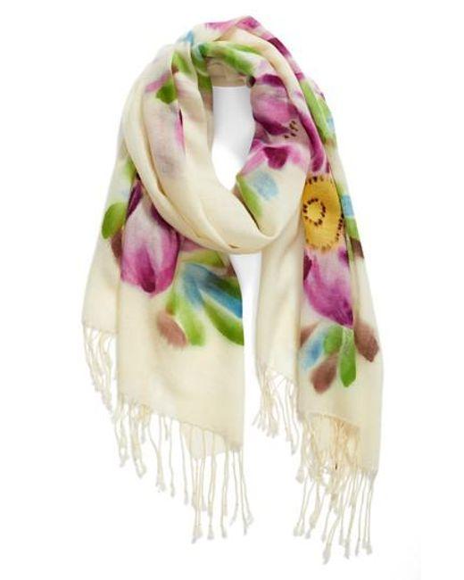 La Fiorentina - Multicolor Floral Wool Scarf - Lyst