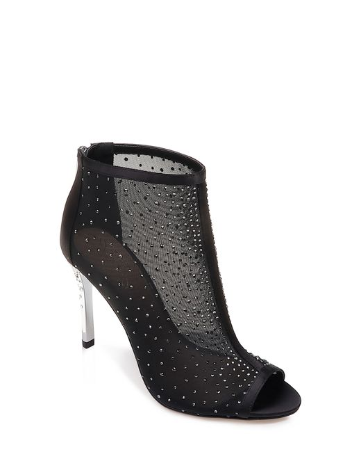 Badgley Mischka - Black Jodie Crystal Embellished Mesh Bootie - Lyst