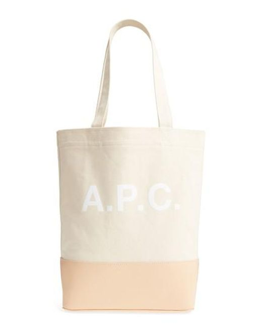 A.P.C. - Natural Cabas Axel Canvas & Leather Tote - Lyst