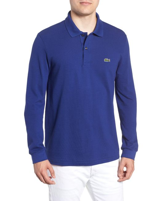 0fe110fa Lacoste Regular Fit Long Sleeve Piqué Polo in Red for Men - Save 52 ...