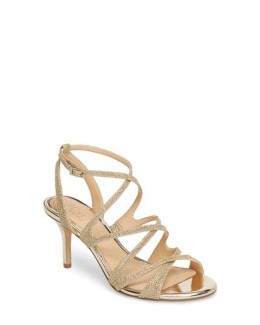 Badgley Mischka - Metallic Tasha Glitter Sandal - Lyst