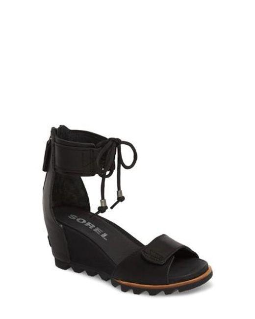 sorel Women's Joanie Leather & Suede Ankle Tie Wedge Sandals 3s06Ijp