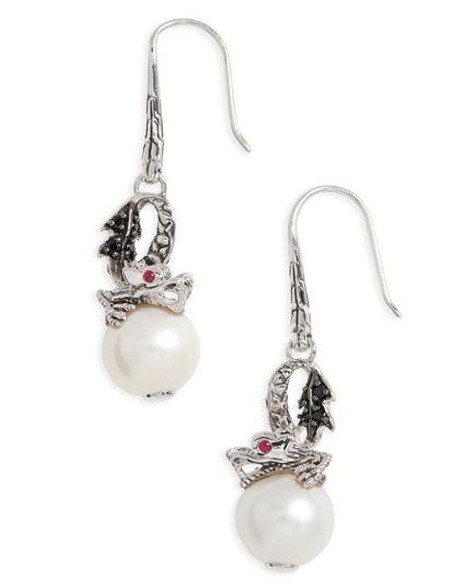 John Hardy Naga Silver Lava Drop Earrings with Black Sapphire rzXytv
