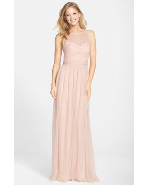 Amsale - Pink Lace & Tulle Gown - Lyst