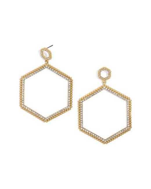 BaubleBar   Metallic Hexagonal Hoop Earrings   Lyst