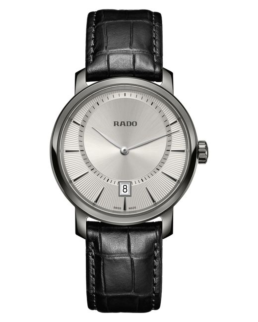 Rado - Black Diamaster Leather Strap Watch for Men - Lyst
