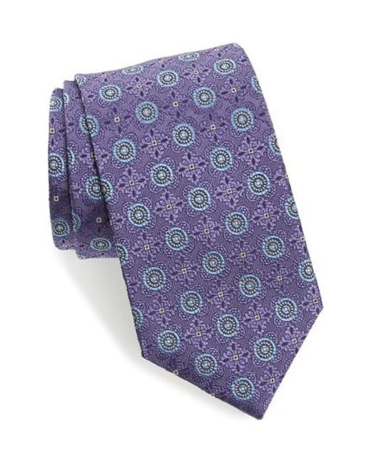 David Donahue | Purple Medallion Silk Tie for Men | Lyst