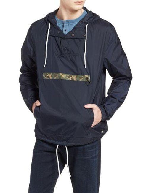 Original Penguin - Blue Exposed Zip Pocket Cagoule Jacket for Men - Lyst